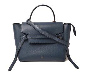 セリーヌ ハンドバッグ/ショルダーバッグ CELINE Belt Bag Micro ベルトバッグ マイクロ 18915 ネイビー系 2way ストラップ付【中古】