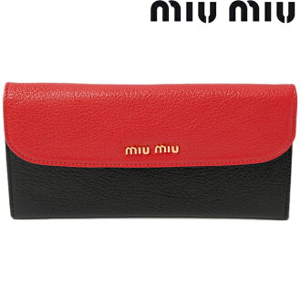 Miu Miu miumiu long wallet 5M1109 BICOLORE MADRAS / Madras FUOCO+NERO / red + black