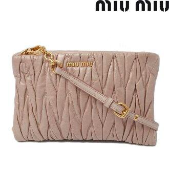 Miu Miu 挎包 / 离合器袋 5N1710 褶皱小羊皮 miu miu MUGHETTO / 米色粉色吊带