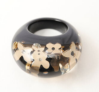 Louis Vuitton rings / ring LOUIS VUITTON Berg Uncle John rings black / clear / gold M65308