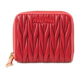 Miu Miu purse / card case miumiu MADRAS / Madras leather FUOCO/CORALLO black / coral 5MM268 unused