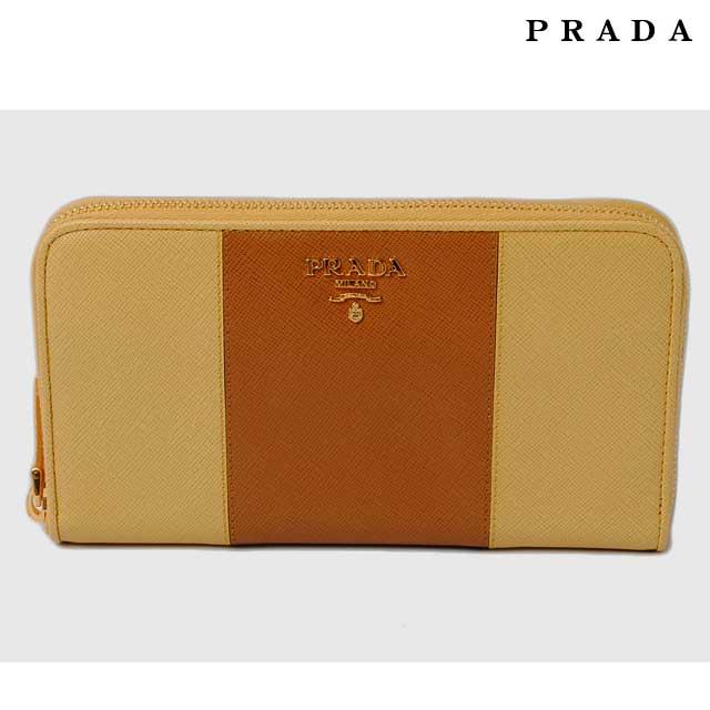プラダ 長財布 PRADA 1M0506 SAFFIANO COLOUR/型押しレザー CARAMEL+GIN/カラメル