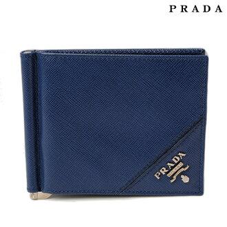 普拉达钱包 / 钱夹子普拉达 (prada) 折钱包 2 M 1077 真皮金属压花皮革钴蓝色插座