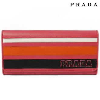 PRADA普拉达2个长钱包皮革/SAFFIANO RIGHE PEONIA+PAPAY 1M1132