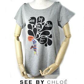 シーバイクロエ 半袖 Tシャツ SEE BY CHLOE キャット/猫 グレー サイズ38 ギフト プレゼント