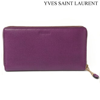 Yves Saint Laurent Yves圣罗兰长钱包技巧的朝鲜蓟的软叶梗皮革紫241153 CDT0M 5201