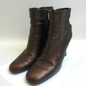 トッズ 靴 シューズ ショートブーツ レザー ブロンズ 37 1/2サイズ 約24cm レディース Aランク TOD,S 中古 六甲道店