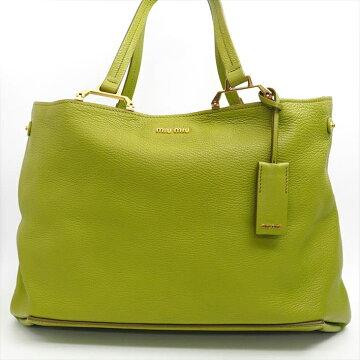 【美 品】 MiuMiu Miu Miu Madras Tote with pouch 5BG002 Leather Womens Bag Tote Bag [Pre]