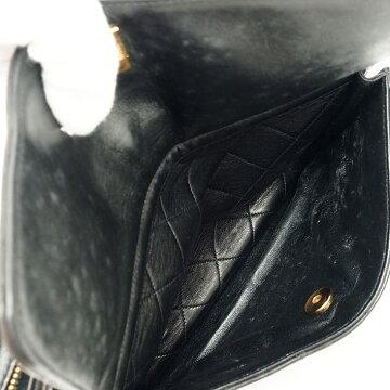 シャネル28cmWチェーンフラップポケット付きゴールド金具マトラッセレディース【ショルダーバッグ】【中古】