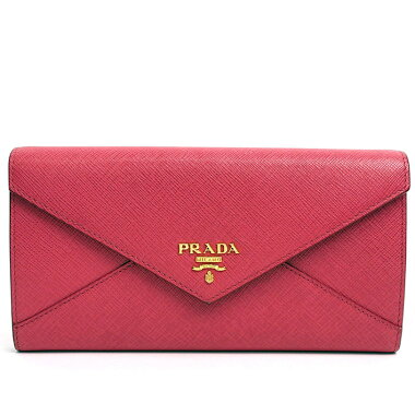 [美 品] Prada Folded Letter Design Pass Case with Long Wallet Sapphiano Letter 1M1037 Women's wallet [pre-owned]