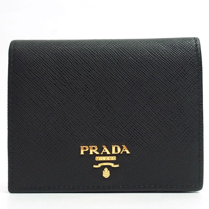 【美品】プラダ ゴールド金具 サフィーノ 1MV204 メンズ【二つ折り財布】【中古】