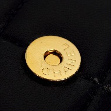 【美品】シャネルチェーンショルダーポシェットカメリア付きゴールド金具チョコバーA16780【ショルダーバッグ】【中古】
