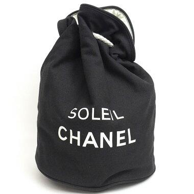 【美品】シャネルノベルティロゴプリントプールバッグ巾着バッグ【ショルダーバッグ】【中古】