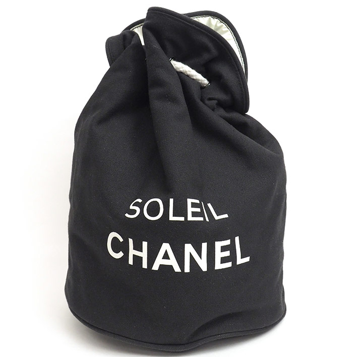【中古】【美品】シャネル ノベルティ ロゴプリント プールバッグ 巾着バッグ 【ショルダーバッグ】 ギフト プレゼント