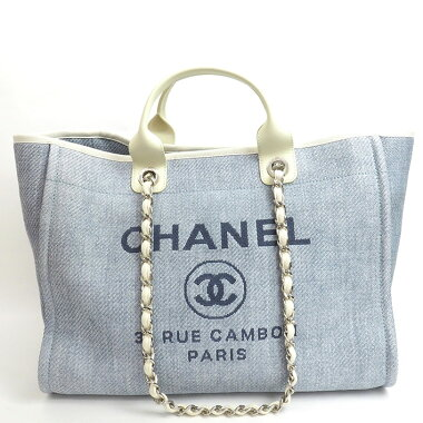 [Good Condition] Chanel 2WAY Chain Tote Handbag Silver Hardware Deauville A66941 [Tote Bag] [Used]