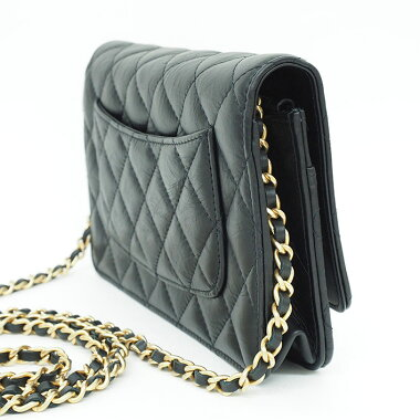 Almost New  Chanel Turn Lock Chain Wallet wrinkle processing mat mattress  Matrasse  wallet 948a09ba55371