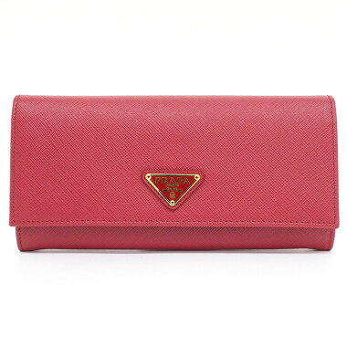 [Almost new] two-fold long wallet gold metal fittings with pass case Saffiano 1MH132 [long wallet] [used]