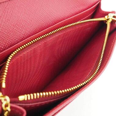 【ほぼ新品】パスケース付き二つ折りロングウォレットゴールド金具サフィアーノ1MH132【長財布】【中古】