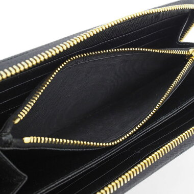 [Good Condition] Round Fastener Long Wallet Gold Hardware Saffiano 1ML506 [Long Purse] [Used]