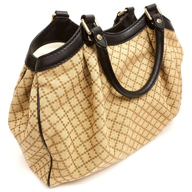 [Goods] Gucci handbag semi-shoulder logo charm Diamante × Sukey 219444213048 [pre-owned tote bag]