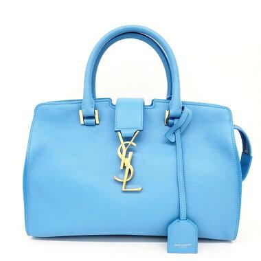 [Used] [Beautiful goods] Yves Saint Laurent YSL logo 2WAY shoulder diagonally hung gold metal fittings Baby cabas [Handbag] [Used]