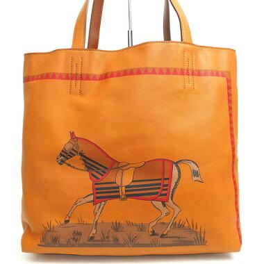 【中古】エルメス36馬柄ホースプリントリバーシブルドゥブルセンス【トートバッグ】