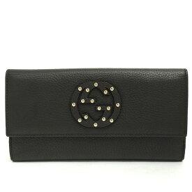 [GOODA] [Used] [Good Condition] Gucci Double G Metallic Studs W Hook Long Wallet Interlocking G 231843-2149 [Long Purse]