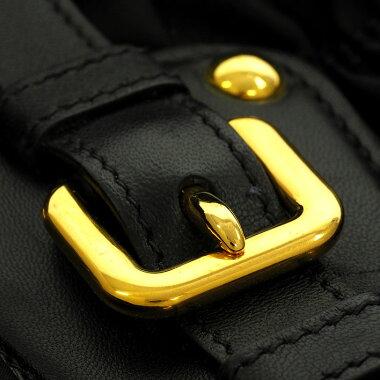 [Used] [almost new] Prada 2WAY gathered shoulder bag gold metal fittings testsuit go full 1BG805 [handbag]