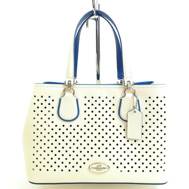 [Used] [Good Condition] Coach Small Kit Punching Perforated Leather 2WAY Shoulder Carry All 34971 [Handbag]
