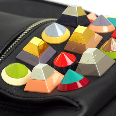 [Used] [Good Condition] Fendi BYTHEWAY Palladium Pyramid Stud Mini Bye Way 8BZ0389DF [Backpack Rucksack]
