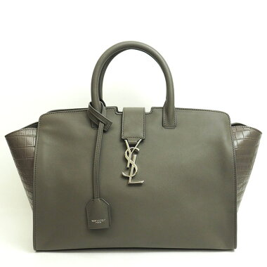 [Used] [almost new] Yves Saint Laurent Small 2WAY tote shoulder diagonally hanging crocodile embossed monogram silver hardware downtown cabas 436832 [handbag]