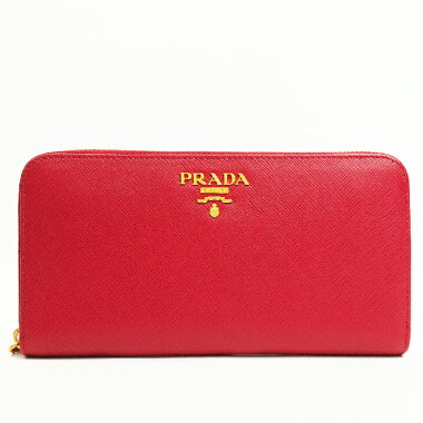[Pre-owned] [almost new] Prada round fastener long wallet gold clasp Safiano metal 1ML506 [long wallet]