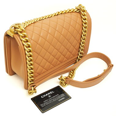 [Used] [Beauty] Chanel Matrasse Stitch Chain Shoulder Antique Gold Metal Fittings Boy Chanel A67086 [Shoulder Bag]