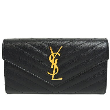 [Pre-owned] [mostly new] Yves Saint Laurent flap wallet bifold gold hardware YSL logo Monogram Saint Laurent 372 264 [long wallet]