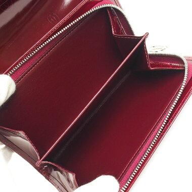 【中古】【ほぼ新品】カルティエL字ファスナー中財布コンパクトウォレットシルバー金具ハッピーバースデイL3000347【二つ折り財布】