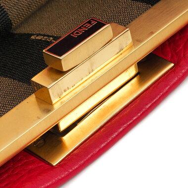 【中古】【美品】フェンディレギュラーサイズステッチ2WAYショルダーバッグマットゴールド金具セレリアピーカブー8BN226【ハンドバッグ】