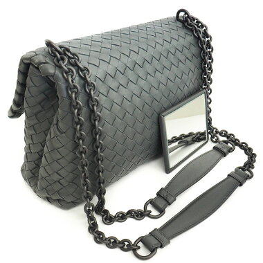 [Used] [Beautiful] Bottega Veneta Olympia Bag W Chain Shoulder Crossbody Gunmetal Intrecciato 386498V00162965 [Shoulder Bag]