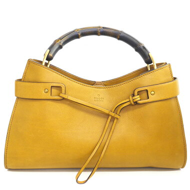 [Used] [Good Condition] Gucci one shoulder logo embossed mat gold metal fittings bamboo 109136 ・ 002214 [handbag]