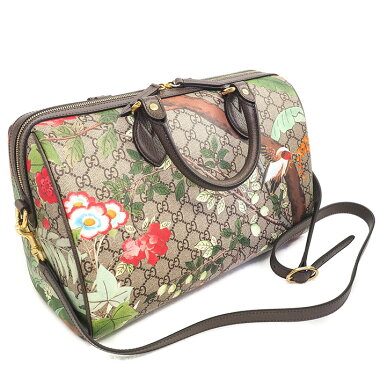 [Used] [Good Condition] Gucci GG Pattern Flower Pattern Flower Bird Print Handbag 2WAY Shoulder Bag GG Supreme x Tian 409527/520981 [Boston Bag]