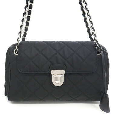 [Preowned] [Goods] Prada Quilted Chain Shoulder Bag Silver Bracket Tesuto BR 4965 [Shoulder Bag]