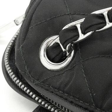 [Preowned] [Goods] Prada Quilted Chain Shoulder Bag Silver Bracket Tesuto BR 4965 [Shoulder Bag]