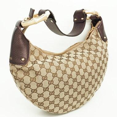 [Used] [Beautiful] Gucci GG handle one shoulder shoulder metal fittings metal bamboo x GG canvas 131038/001013 [shoulder bag]