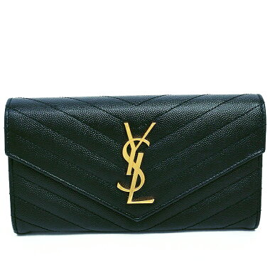 [Pre] [goods] Yves Saint Laurent flap wallet bi-fold gold metal fittings YSL logo classic monogram 372264 [long wallet]