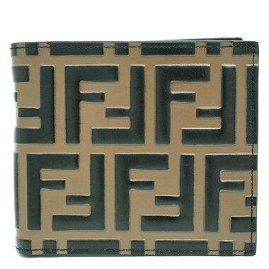 [Used] [almost new] Fendi folding wallet wallet men's Zucca 7M0169A42P [bi-fold wallet]