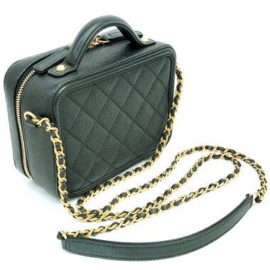 [Pre] [Beautiful] Chanel vanity case chain shoulder diagonally hanging antique gold hardware Coco mark A93343 [shoulder bag]