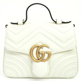 [10% OFF in Rakuten Super SALE] [Up to P39 times in entry] [GOODA published] [Used] [Unused / New Old Goods] Gucci Mini Top Handle Bag Chevron Heart Quilted 2WAY Chain Shoulder GG Logo Antique GG Marmont 547260/493075 [Handbag]