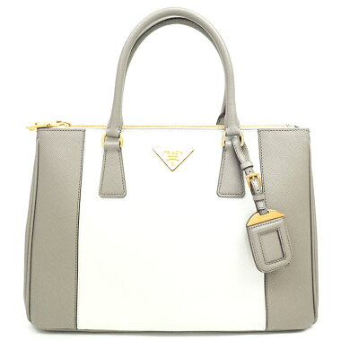 [Pre-owned] [Beautiful] Prada 2WAY Shoulder Bag Bicolor Triangle Logo Tote Bag Gold Hardware Saffiano Lux B2274C [Handbag]