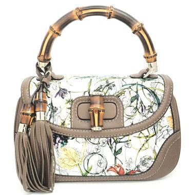 [New Arrival] [Used] [Almost New] Gucci 2WAY Shoulder Bag Fringe Tassel Flower Gold Hardware New Bamboo x Flora 254884/498879 [Handbag]