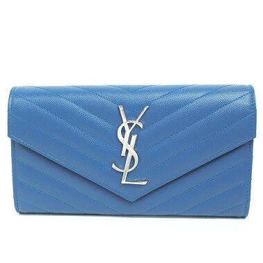 [GOODA] [new stock] [pre-owned] Yves Saint Laurent YSL logo quilting stitch bi-fold flap wallet silver hardware monogram matrasse 372264BOW024331 [long wallet]