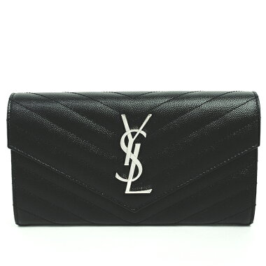 [GOODA] [new stock] [pre-owned] Yves Saint Laurent YSL logo quilting stitch bi-fold flap wallet silver metal fittings monogram matrasse 372264BOW021000 [long wallet]